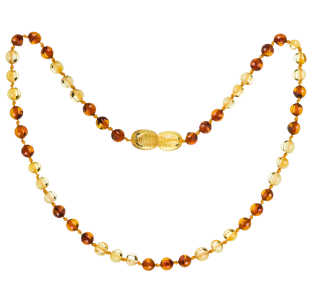 BALTIC AMBER BABY TEETHING NECKLACE LEMON/COGNAC ROUND STYLE POLISHED