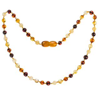 BALTIC AMBER BABY TEETHING NECKLACE MULTI 4 COLORS ROUND STYLE POLISHED