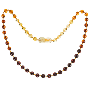 BALTIC AMBER BABY TEETHING NECKLACE RAINBOW ROUND STYLE POLISHED