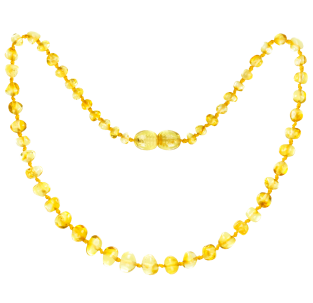 BALTIC AMBER BABY TEETHING NECKLACE LEMON BAROQUE STYLE POLISHED