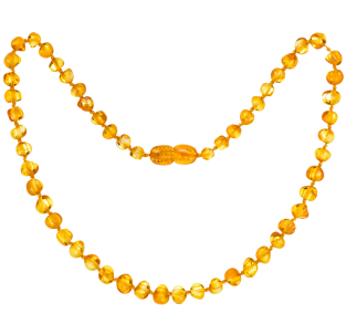 BALTIC AMBER BABY TEETHING NECKLACE HONEY BAROQUE STYLE POLISHED
