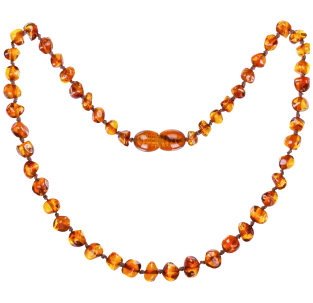 BALTIC AMBER BABY TEETHING NECKLACE COGNAC BAROQUE STYLE POLISHED