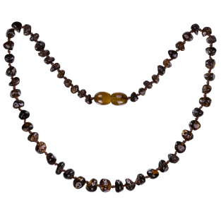 BALTIC AMBER BABY TEETHING NECKLACE GREEN BAROQUE STYLE POLISHED
