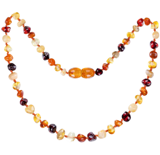BALTIC AMBER BABY TEETHING NECKLACE MULTI 4 BAROQUE STYLE POLISHED