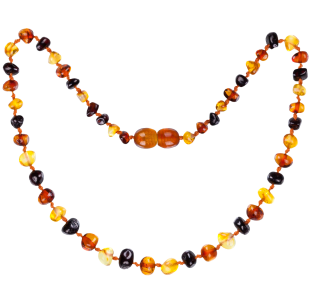 BALTIC AMBER BABY TEETHING NECKLACE MULTI 3 BAROQUE STYLE POLISHED