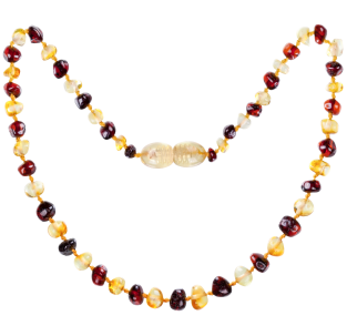 BALTIC AMBER BABY TEETHING NECKLACE LEMON/CHERRY BAROQUE STYLE POLISHED