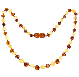 BALTIC AMBER BABY TEETHING NECKLACE MILK/COGNAC BAROQUE STYLE POLISHED