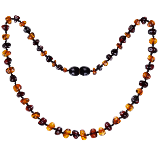 BALTIC AMBER BABY TEETHING NECKLACE COGNAC/CHERRY BAROQUE STYLE POLISHED1