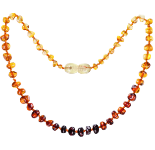 BALTIC AMBER BABY TEETHING NECKLACE RAINBOW BAROQUE STYLE POLISHED