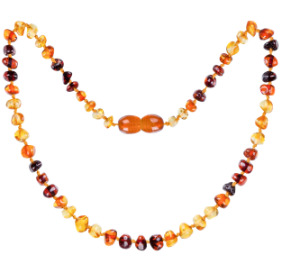 BALTIC AMBER BABY TEETHING NECKLACE TRUE RAINBOW BAROQUE STYLE POLISHED